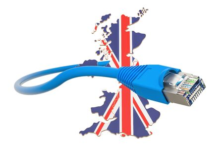 Internet service provider in Great Britain concept, 3D rendering isolated on white background Stock Photo