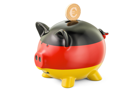 global investing: Investments in Germany. Piggy bank with flag and golden coin, business concept. 3D rendering