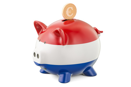 Investments in Netherlands. Piggy bank with flag and golden euro coin, business concept. 3D rendering