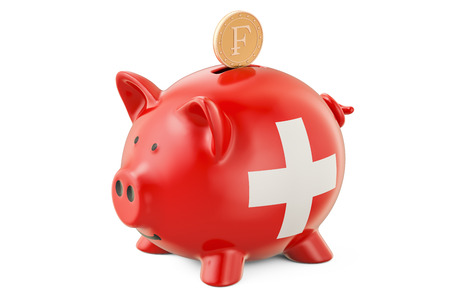 Investments in Switzerland. Piggy bank with flag and golden franc coin, business concept. 3D rendering Stock Photo