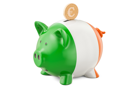 Investments in Ireland. Piggy bank with flag and golden euro coin, business concept. 3D rendering Stok Fotoğraf