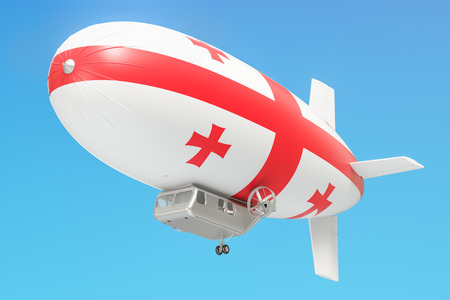 dirigible: Airship or dirigible balloon with Georgian flag, 3D rendering