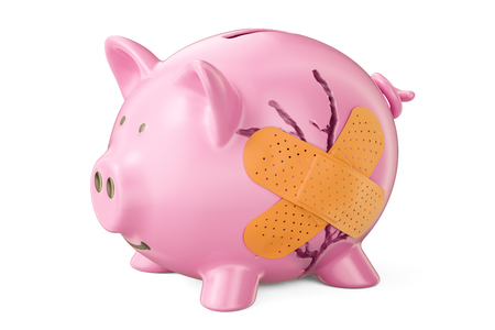Broken piggy bank with adhesive plaster, 3D rendering Imagens