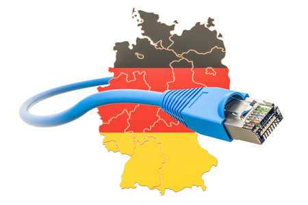 Internet connection in Germany concept. 3D rendering isolated on white background