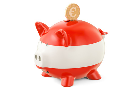 Investments in Austria. Piggy bank with flag and golden euro coin, business concept. 3D rendering Stock Photo