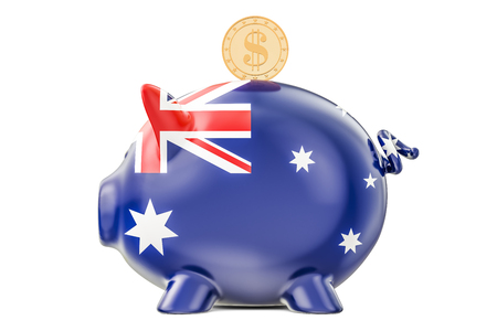 Piggy bank with flag of Australia and golden dollar coin. Investments and business concept, 3D rendering