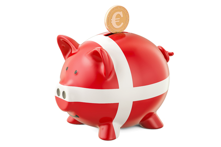 global investing: Piggy bank with flag of Denmark and golden euro coin. Investments and business concept, 3D rendering
