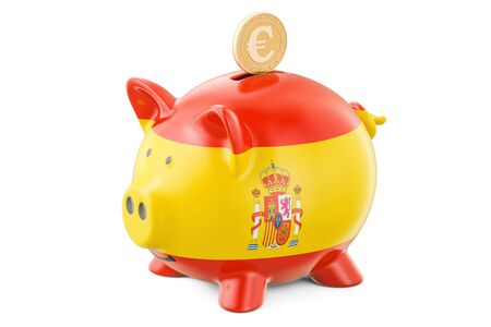 Piggy bank with flag of Spain and golden euro coin. Investments and business concept, 3D rendering Stock Photo