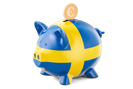 Piggy bank with flag of Sweden and golden euro coin. Investments and business concept, 3D rendering