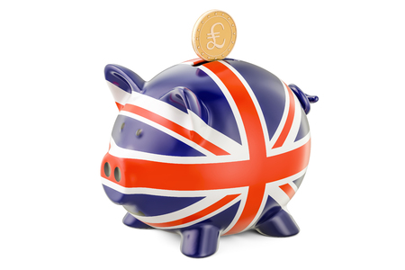 Piggy bank with flag of United Kingdom and golden pound sterling coin. Investments and business concept, 3D rendering