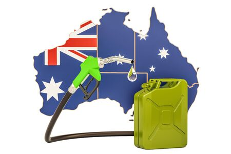 Production and trade of petrol in Australia, concept. 3D rendering isolated on white background Stock Photo