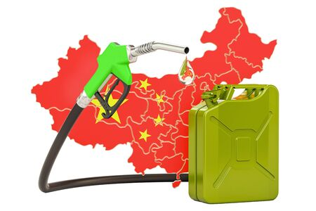 Production and trade of petrol in China, concept. 3D rendering isolated on white background