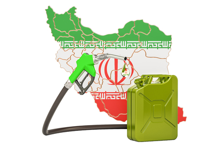 Production and trade of petrol in Iran, concept. 3D rendering isolated on white background Reklamní fotografie