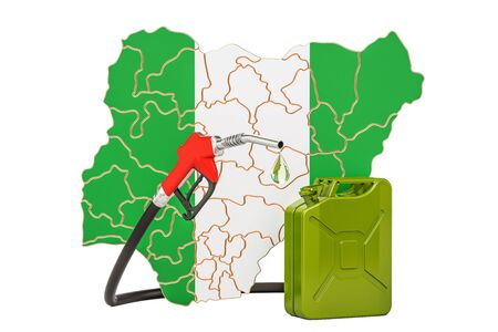 Production and trade of petrol in Nigeria, concept. 3D rendering isolated on white background