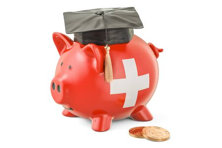 Savings for education in Switzerland concept, 3D rendering isolated on white background