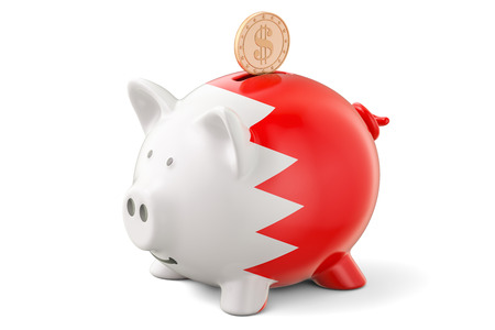 Piggy bank with flag of Bahrain and golden dollar coin. Investments and business concept, 3D rendering