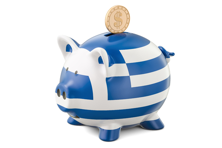 Piggy bank with flag of Greece and golden dollar coin. Investments and business concept, 3D rendering Stock Photo