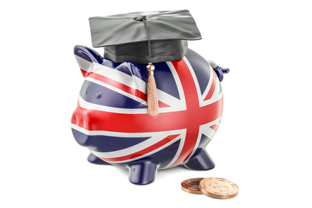 Savings for education in Great Britain concept, 3D rendering isolated on white background