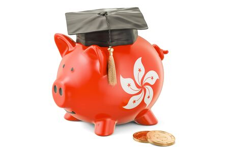 Savings for education in Hong Kong concept, 3D rendering isolated on white background Stock Photo