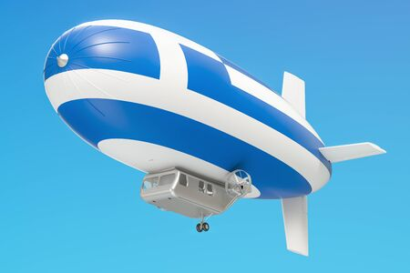 Airship or dirigible balloon with Greek flag, 3D rendering