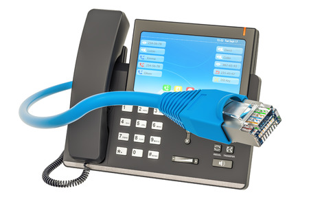 Communication concept. IP phone with lan cable, 3D rendering Фото со стока