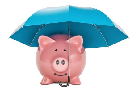 Piggy bank under blue umbrella, 3D rendering isolated on black background