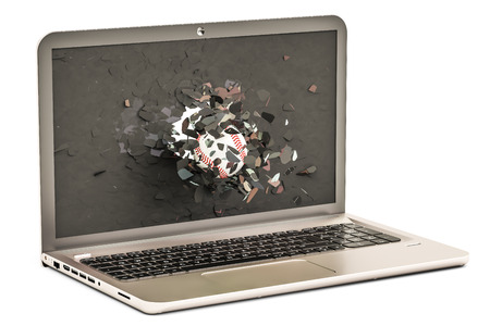 crack: Baseball ball flying through broken monitor of laptop, 3D rendering isolated on white background Stock Photo