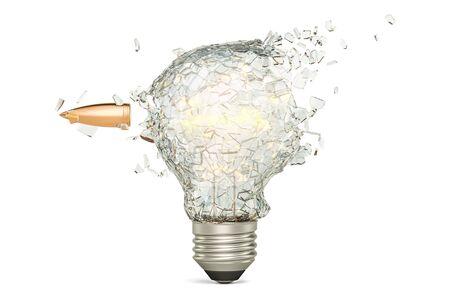 Bullet braking a light bulb, 3D rendering isolated on white background Stock Photo