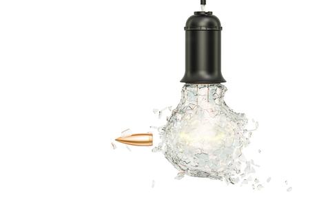 Bullet braking hanging light bulb, 3D rendering Stock Photo