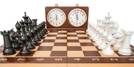 市松模様の数字との分離の白い背景を描画の 3 D チェスの時計 写真素材