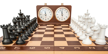 Checkerboard with figures and chess clock, 3D rendering isolated on white background Фото со стока