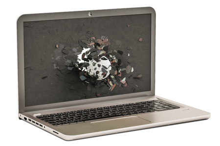 Golf ball flying through broken monitor of laptop, 3D rendering isolated on white background