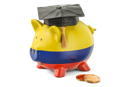 Savings for education in Colombia concept, 3D rendering isolated on white background Stock Photo