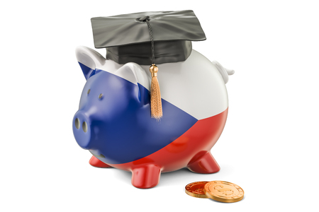 fondo de graduacion: Savings for education in Czech Republic concept, 3D rendering isolated on white background