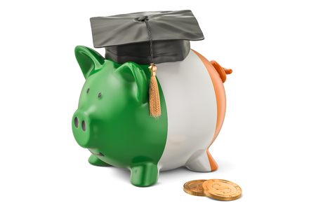 Savings for education in Ireland concept, 3D rendering isolated on white background