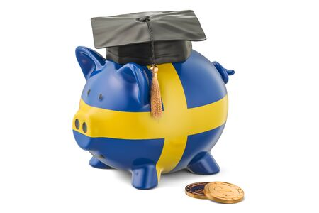 savings account: Savings for education in Sweden concept, 3D rendering isolated on white background Stock Photo