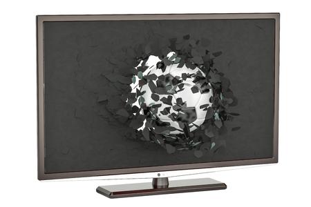 Soccer ball flying through broken screen of TV set, 3D rendering isolated on white background