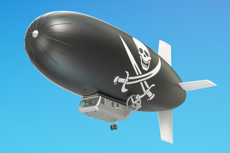 Airship or dirigible balloon with piracy flag, 3D rendering Stock Photo