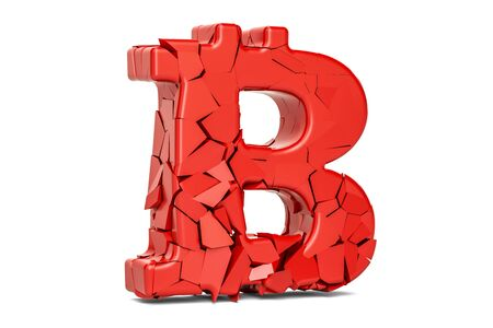 Broken Bitcoin Symbol, 3D rendering isolated on white background