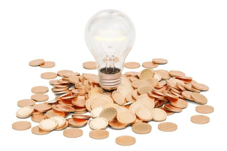 Lightbulb with heap of golden coins, 3D rendering isolated on white background Stock Photo