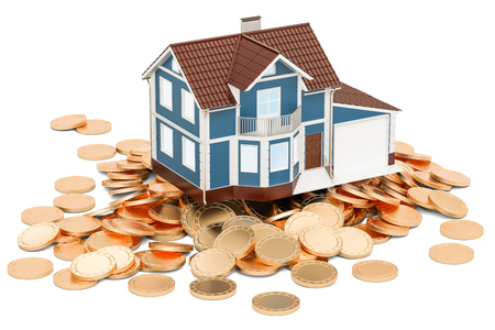 Real estate financial concept, house on golden coins. 3D rendering