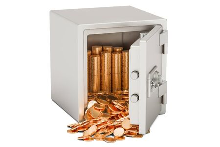 Safe box with heap of golden coins, 3D rendering isolated on white background