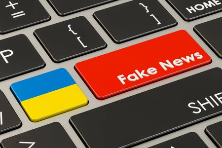 hoax: Ukrainian fake news button, key on  keyboard. 3D rendering Stock Photo
