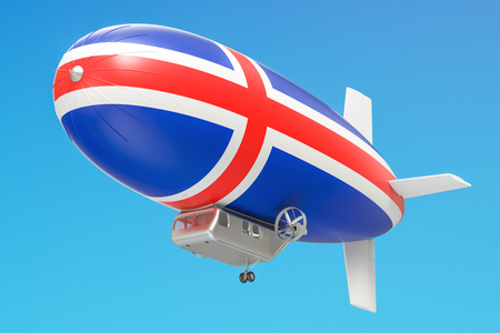 aeronautics: Airship or dirigible balloon with Icelandic flag, 3D rendering