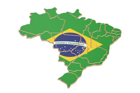 Brazil map closeup, 3D rendering isolated on white background Stock Photo