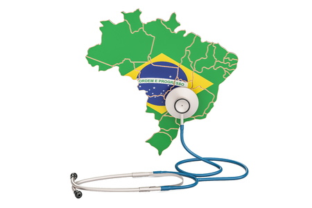 Brazilian map with stethoscope, national health care concept, 3D rendering