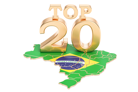 Brazilian Top 20 concept, 3D rendering isolated on white background