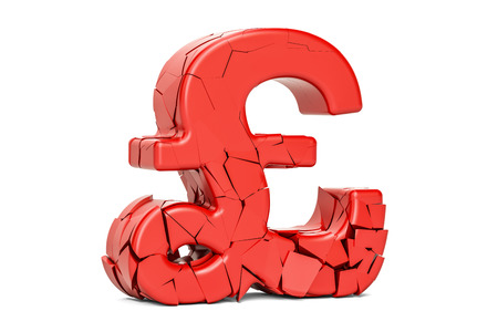 Broken pound sterling symbol, 3D rendering isolated on white background Stock Photo