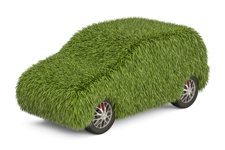 car from grass, 3D rendering isolated on white background
