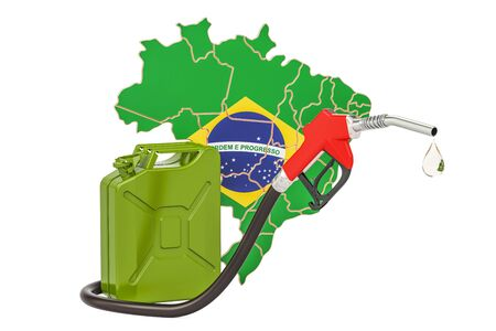 Production and trade of petrol in Brazil, concept. 3D rendering isolated on white background Stock Photo